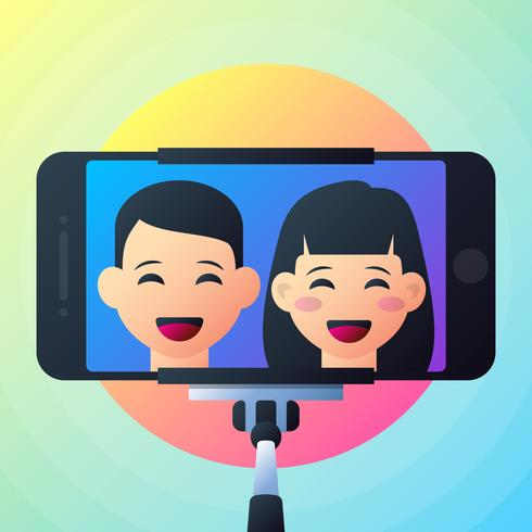 Happy Couple Are Take Selfie Illustration