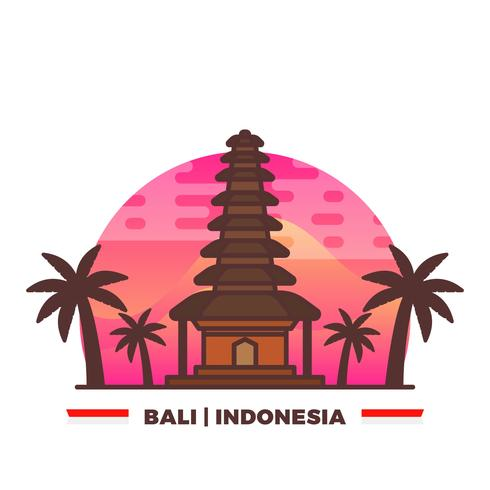 Templo plano en Bali Orgullo indonesio con gradiente de fondo Vector Illustration