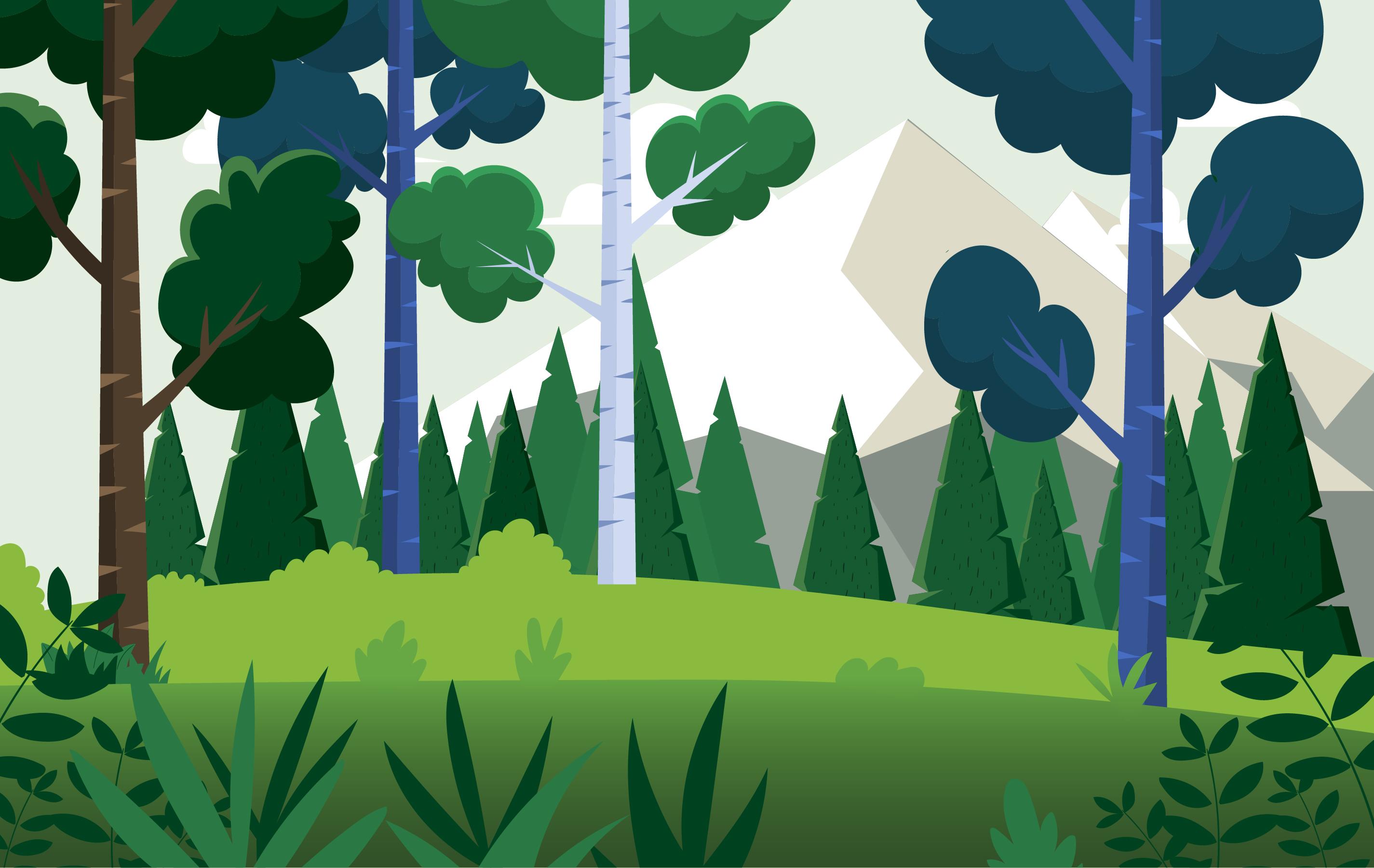 Landscape Illustration Vector Free: Vector Cartoon Landscape Illustration