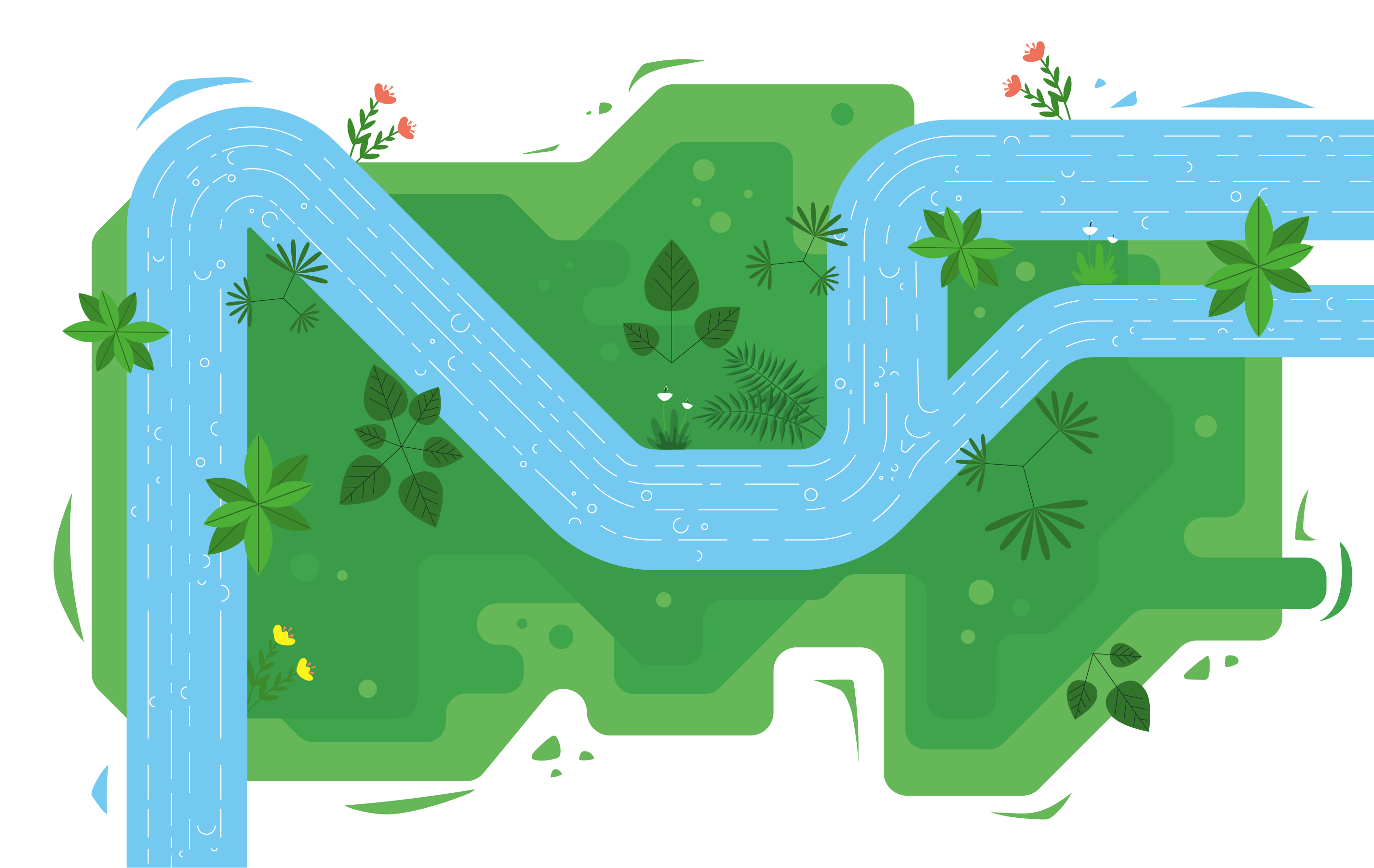 Vector Top View River Illustration