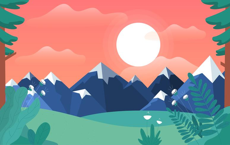 Vector Cartoon landschap illustratie