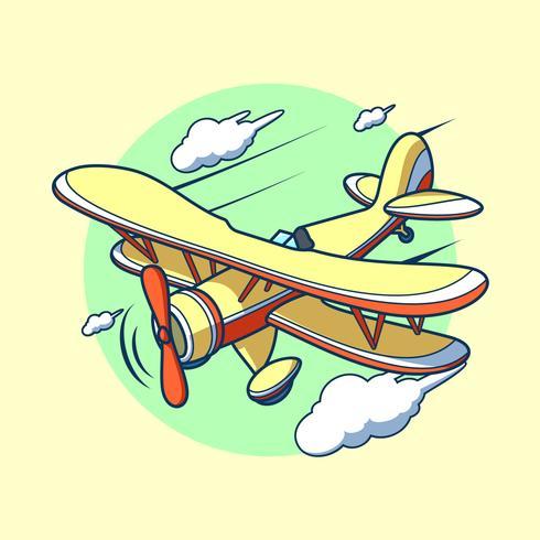 Flying Cartoon Biplane Vector