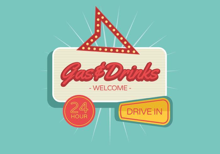Gas & Drinks Vintage Sign