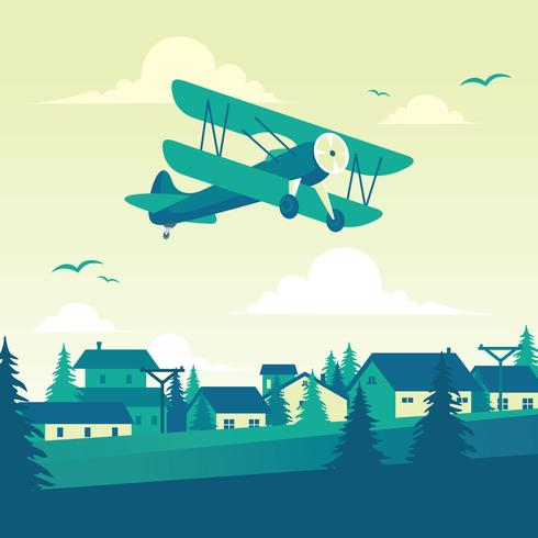 Ilustração de biplano