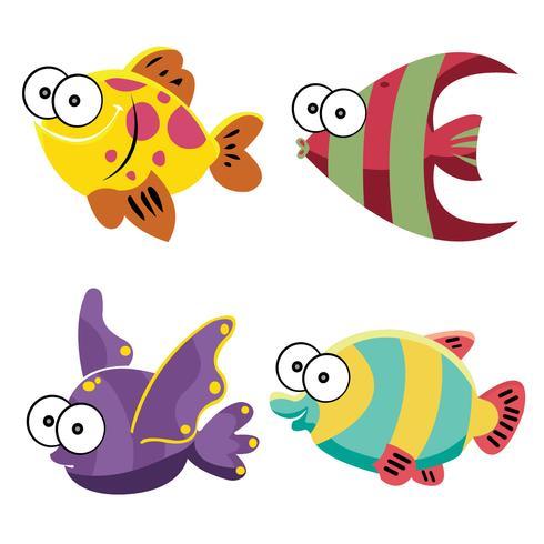 Ilustración de Vector de peces de dibujos animados