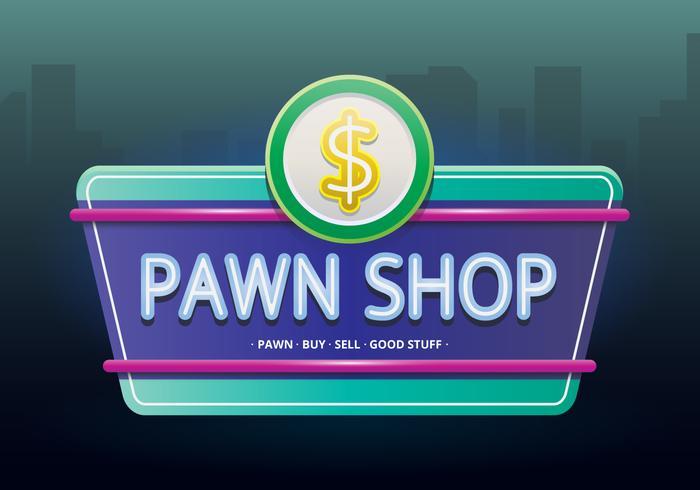 Signos de la tienda de empeño de la vendimia. Retro Vintage Pawn Shop signos en estilo realista.