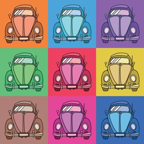 vintage pop art car vector