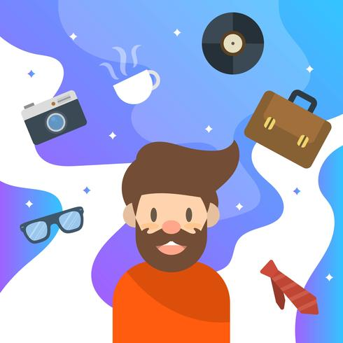 Flat Hipster Character and Elements With Modern Clean Background Vector Illustration