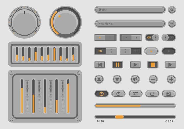 Set UI di controllo della musica audio