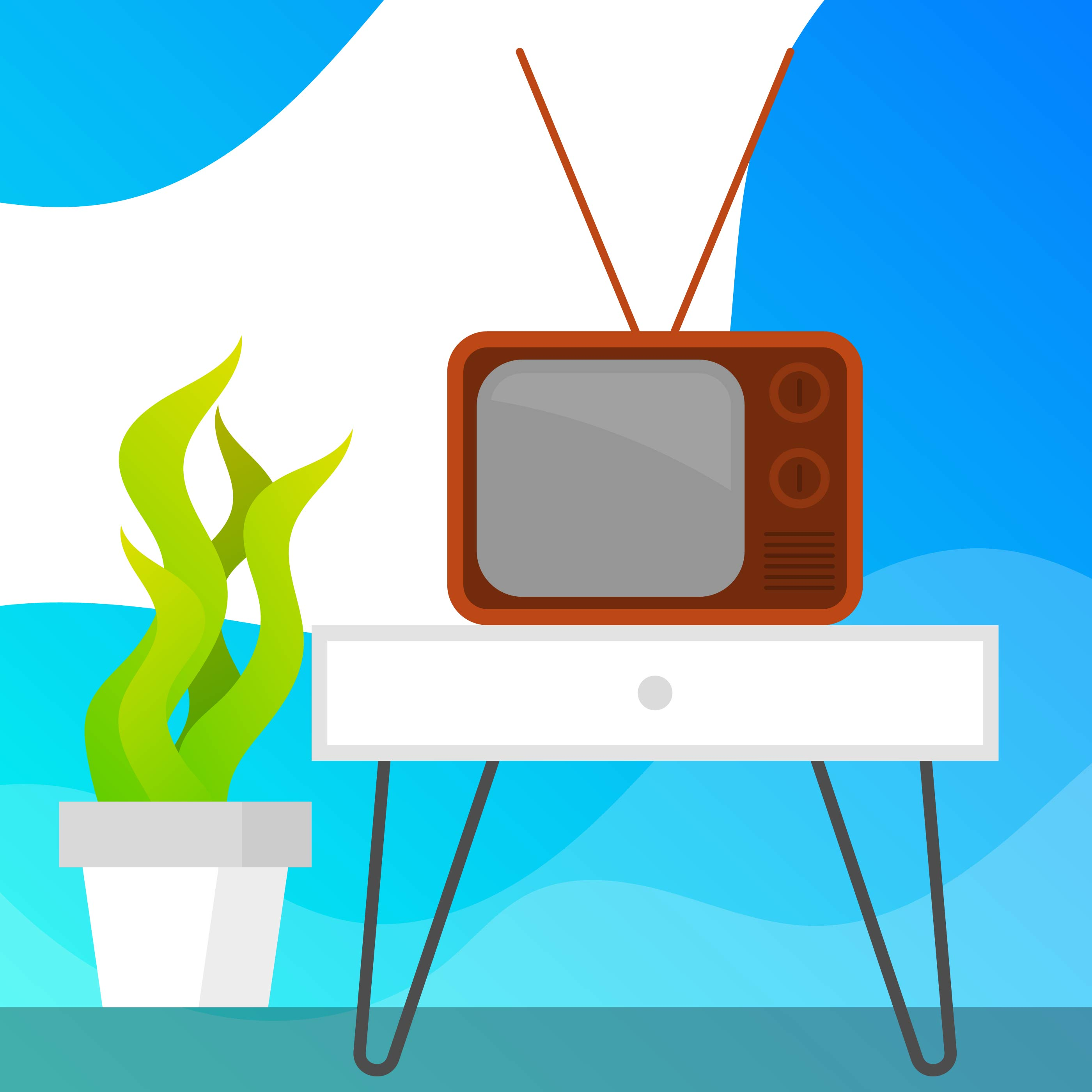 Flat Retro Television With Gradient Background Vector