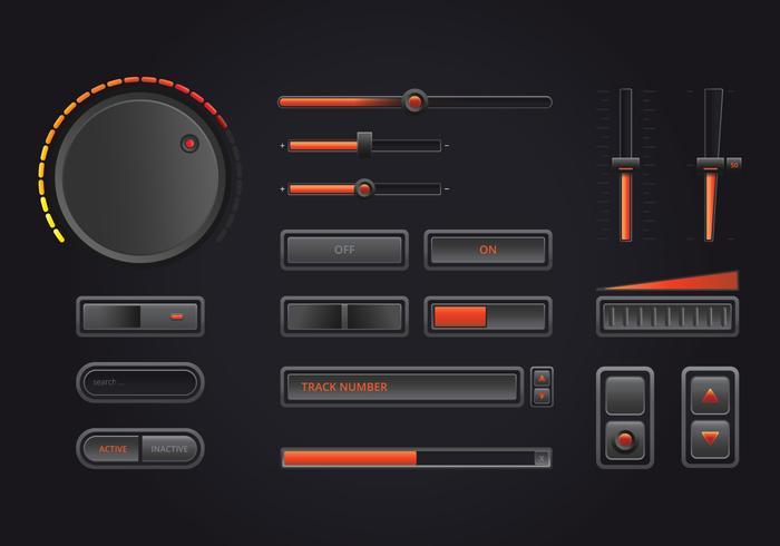 Interface de controle de música de áudio em estilo realista no tema escuro.