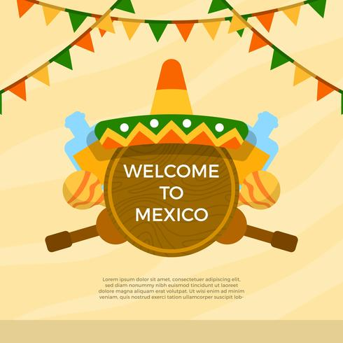 Flat Sombrero And Mexican Elements With Background Vector Illustration
