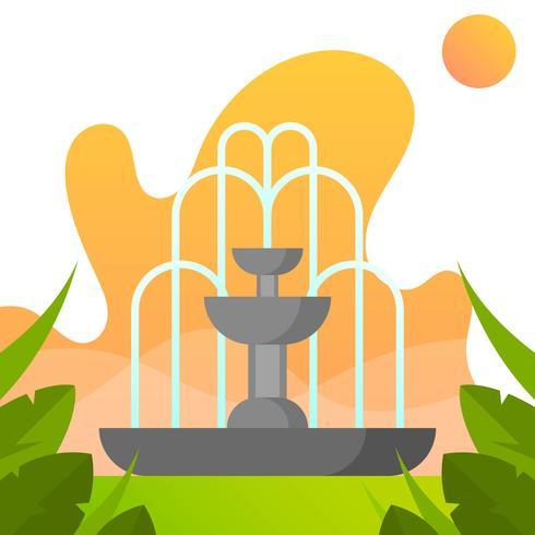 Vlakke Fontein met Gradiëntpark Vectorillustratie Als achtergrond