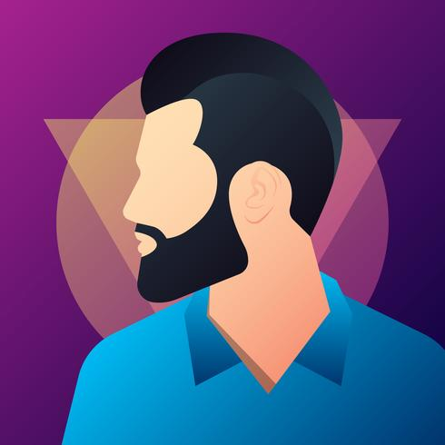 Hipster Man Silhouette With Mustache And Beard Illustration