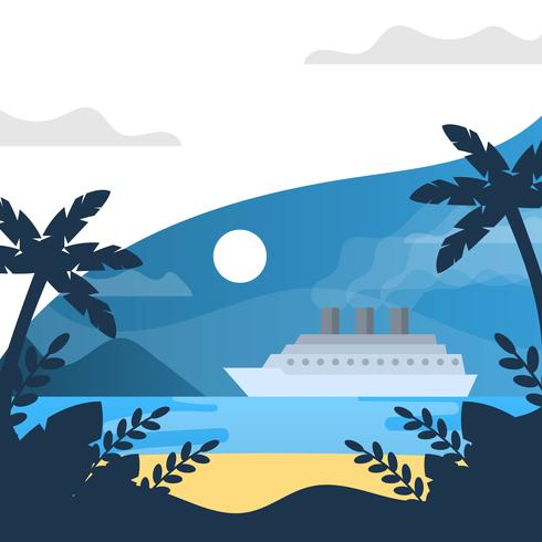 Flat Night Time in Beach and Cruise With Minimalist Gradient Background Vector Illustration