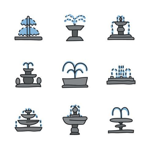 Doodled fontein pictogrammen