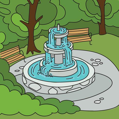 Park Background With A Fountain