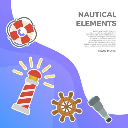 Flat nautische element Vector collectie