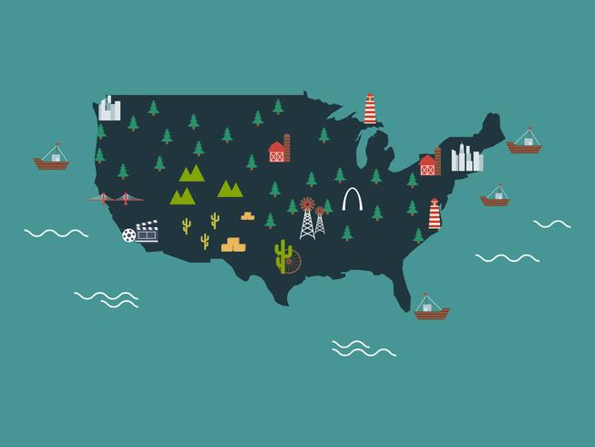 Unique United States Landmark Map Vectors