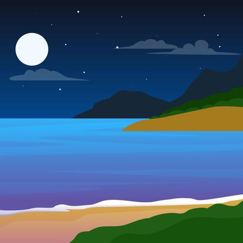 Beautiful Night Time Beach Vectors