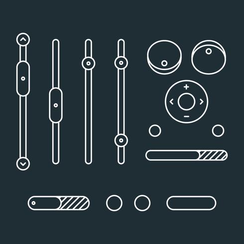 Outlined White Music Control Icons