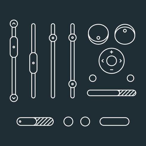 Iconos de control blanco de música contorneados