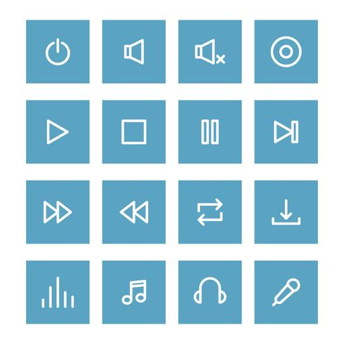 Set Of Outlined Music Control Icons