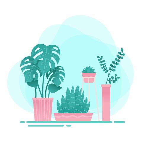 Vetor de plantas em vasos