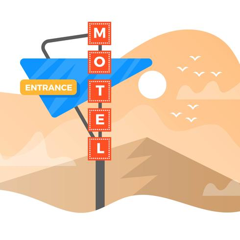 Flat Vintage Sign of Motel With Minimalist Gradient Landscape Vector Background Illustration