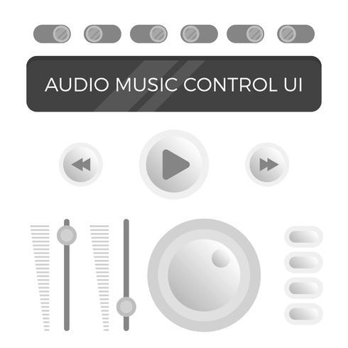 Flat Modern Minimalist Audio Control UI Vector Template