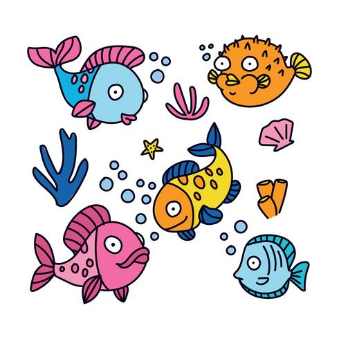 Colorful Cartoon Fishes