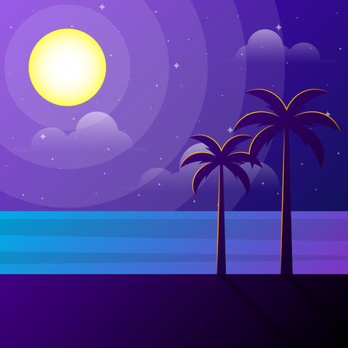 Schöne Strand-Szene an der Mondschein-Illustration