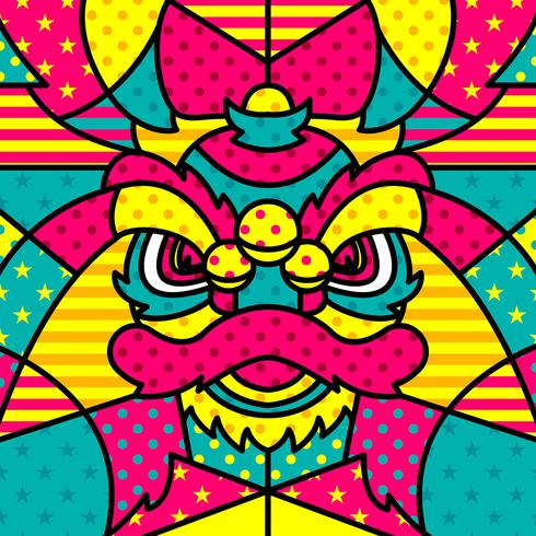 leeuwenkop chinesse moderne pop-art vector