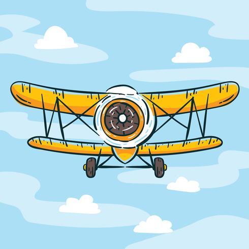 Vector dibujado mano biplano amarillo
