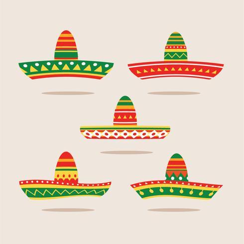 Ilustración plana Conjunto de Sombrero