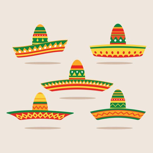 Flat illustratie Set van Sombrero vector