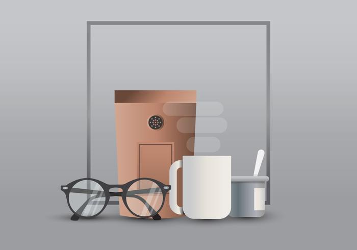 Hipster Lifestyle. Hipster in Coffee Lifestyle Illustration. Hipster Gradient Style.