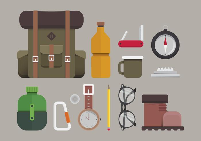 Hipster Lifestyle. Hipster Hiking and Travelling Lifestyle Illustration. Travelling Hipster in Element Set.