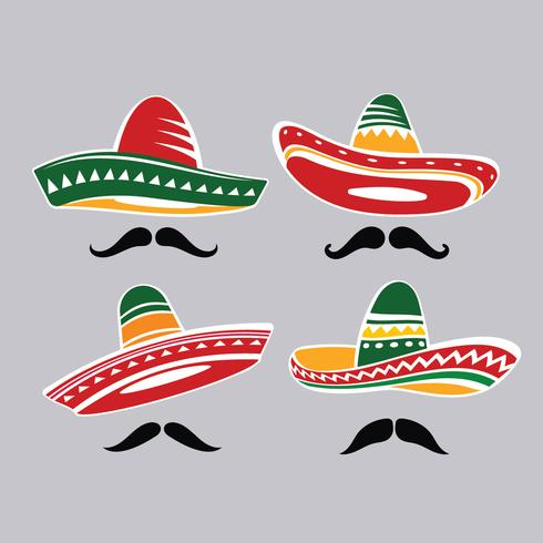 Traditional Mexican Sombrero Hat Collection with Mustacle