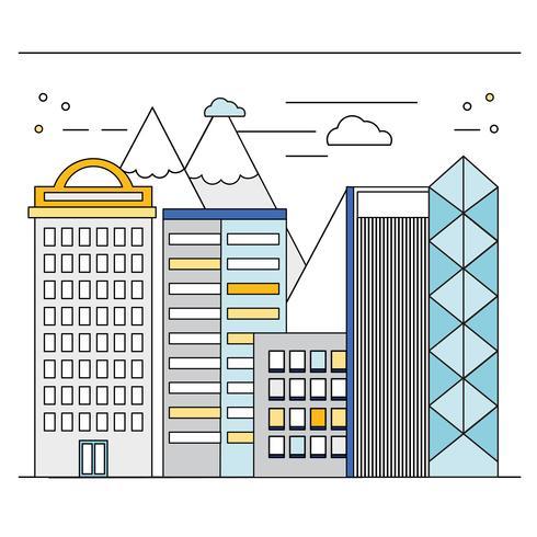 Vektor Sunny Cityscape Illustration