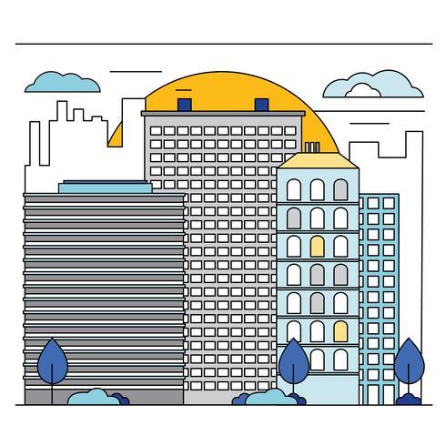 Vector Line Art Cityscape Illustration