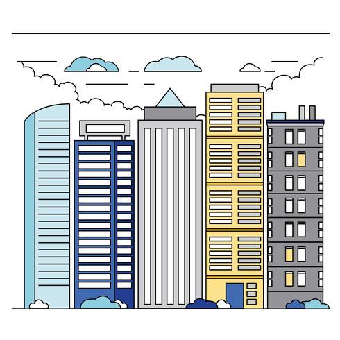 ilustración de paisaje de vector línea arte