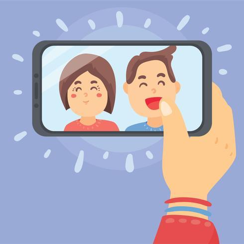Couple Selfie Vector