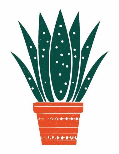 Illustration de plante en pot de style linogravure