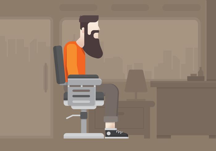 Estilo de vida moderno. Homem do moderno na barbearia para a ilustração do estilo de vida. Moderno do homem novo dentro da barbearia na cidade.