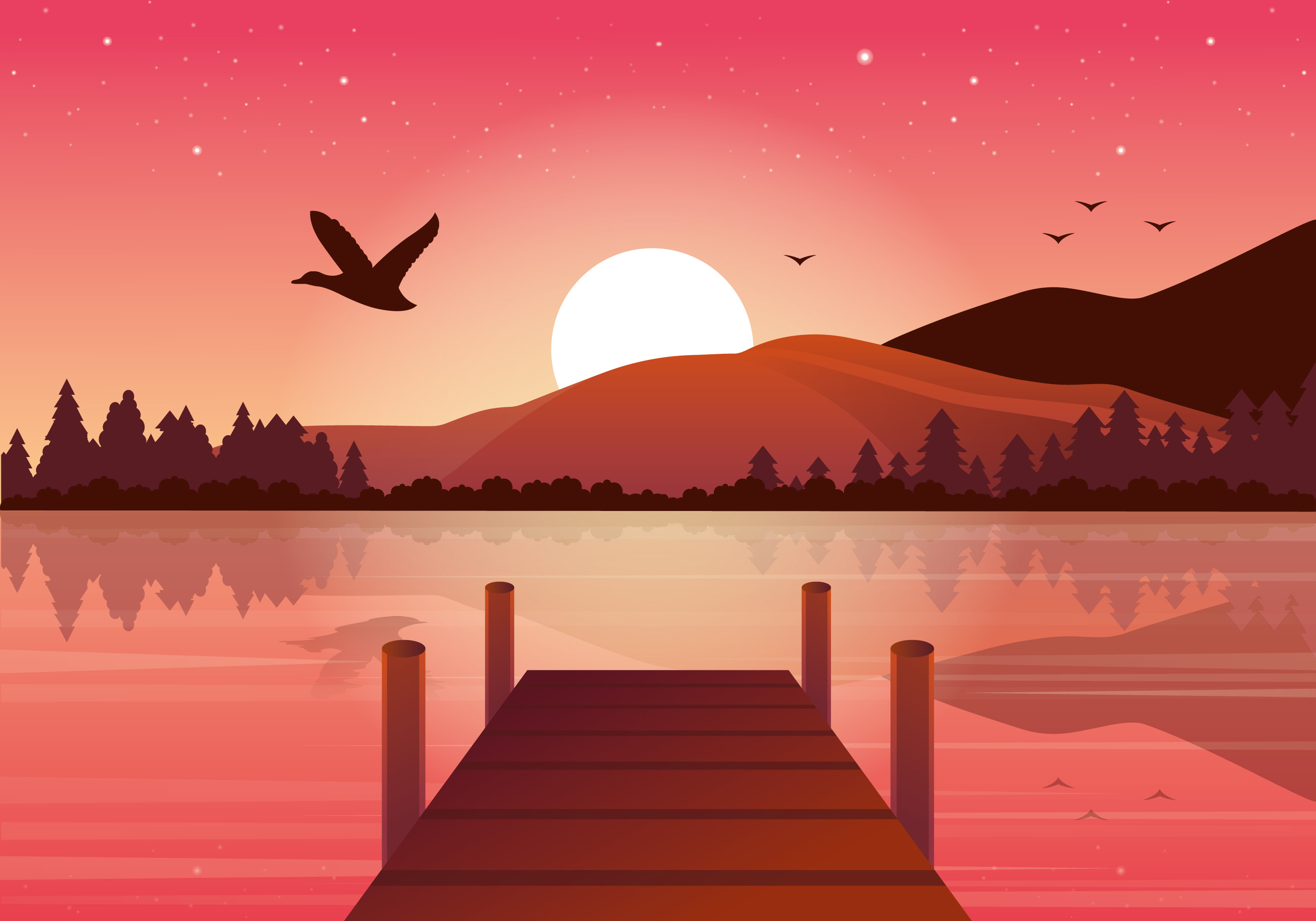Vector Beautiful Landscape Illustration Download Free