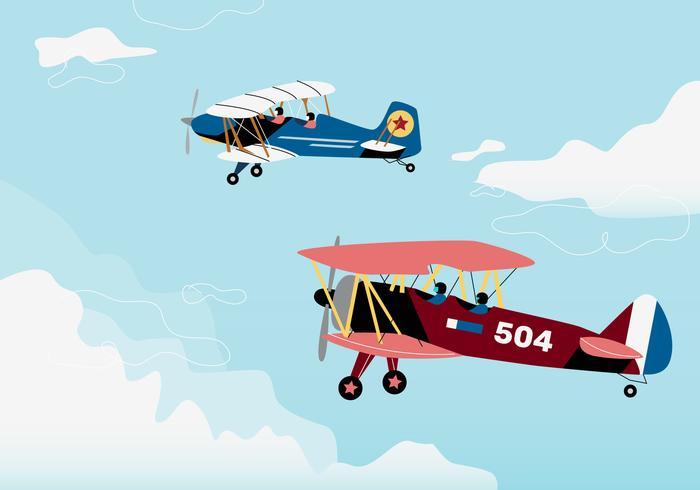 Rétro biplane guerre vol fond vecteur Illustraion