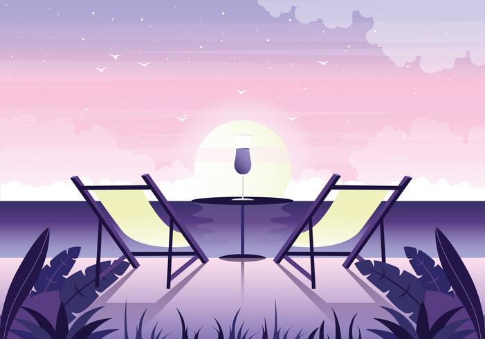 Vektor vacker romantisk landskaps illustration