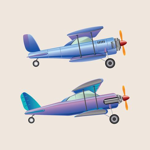 Realistische Illustration Flugzeuge oder Doppeldecker-Set