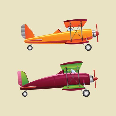 Retro Realistic Illustration Planes or Biplane Set vector